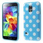 Svetlo modrý puntíkatý gélový obal pre Samsung Galaxy S5 mini - 1/5