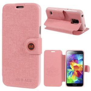 Růžové zapínací pouzdro na Samsung Galaxy S5 mini - 1