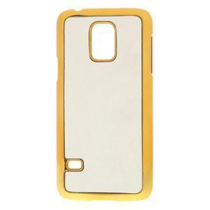 Bílé elegantní plastové pouzdro se zlatým lemem na Samsung Galaxy S5 mini - 1
