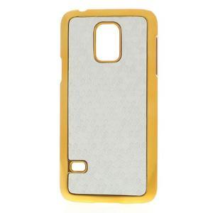 Strieborné elegantní plastové puzdro se zlatým lemem pre Samsung Galaxy S5 mini - 1