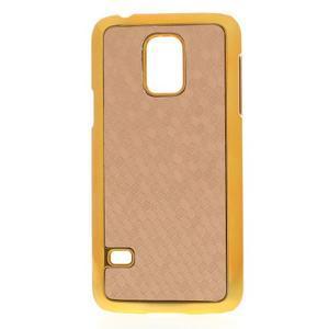 Béžové elegantní plastové puzdro se zlatým lemem pre Samsung Galaxy S5 mini - 1