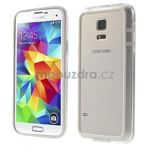 Bílý gelový kryt s plastovými lemy na Samsung Galaxy S5 mini - 1