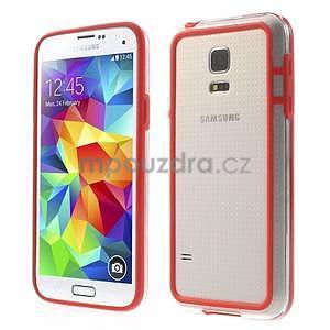 Červený gélový kryt s plastovými lemy pre Samsung Galaxy S5 mini - 1