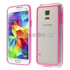Rose gélový kryt s plastovými lemy pre Samsung Galaxy S5 mini - 1