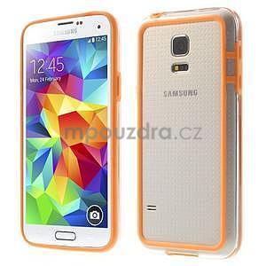 Oranžový gélový kryt s plastovými lemy pre Samsung Galaxy S5 mini - 1