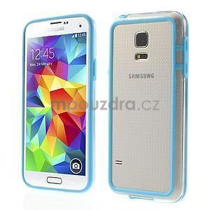 Světle modrý gelový kryt s plastovými lemy na Samsung Galaxy S5 mini - 1