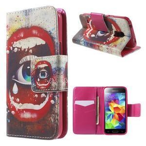 Zapínací peňaženkové puzdro pre Samsung Galaxy S5 mini - oko - 1