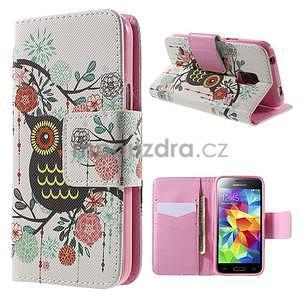 Zapínací peňaženkové puzdro pre Samsung Galaxy S5 mini - kvetinová sova - 1