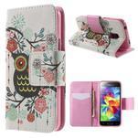 Zapínací peňaženkové puzdro pre Samsung Galaxy S5 mini - kvetinová sova - 1/7