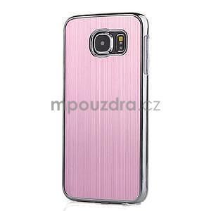 Ružový hliníkový kryt s plastovými lemy pre Samsung Galaxy S6