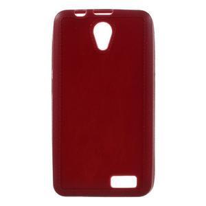 Vroubkovaný gélový obal pre mobil Lenovo A319 - červený - 1