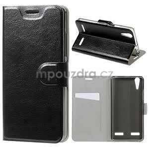 Peňaženkové PU kožené puzdro pre Lenovo A6000 - čierne - 1