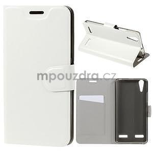 Peňaženkové PU kožené puzdro na Lenovo A6000 -  biele - 1