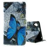 PU kožené peňaženkové puzdro na Lenovo S850 -  modrý motýľ - 1/7