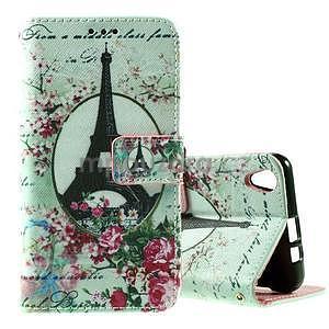 PU kožené peňaženkové puzdro na Lenovo S850 - Eiffelova veža - 1