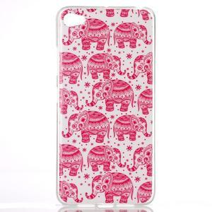 Glossy gélový obal pre mobil Lenovo S90 - červení slony - 1
