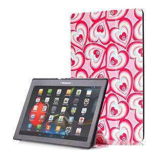 Polohovatelné pouzdro na tablet Lenovo Tab 2 A10-70 - srdíčka - 1