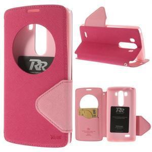 Diary puzdro s okienkom na mobil LG G3 - rose - 1