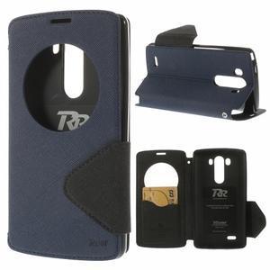 Diary puzdro s okienkom na mobil LG G3 - tmavomodré - 1