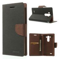 Goos peňaženkové puzdro pre LG G3 - čierne/hnedé - 1/7