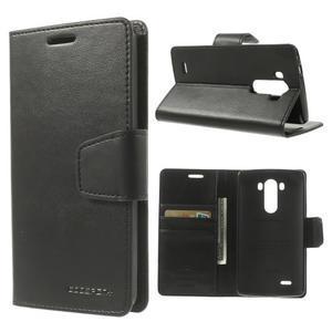 PU kožené pouzdro na mobil LG G3 - černé - 1
