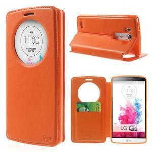 Roar peňaženkové puzdro s okienkom na LG G3 - oranžové - 1