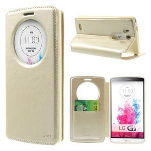 Roar peněženkové pouzdro s okýnkem na LG G3 - zlaté - 1
