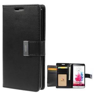 Luxusní PU kožené puzdro pre mobil LG G3 - čierne - 1