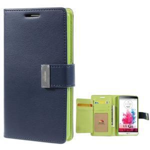 Luxusní PU kožené pouzdro na mobil LG G3 - tmavěmodré - 1