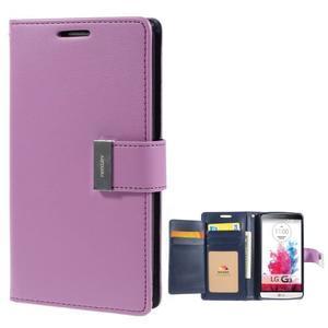 Luxusní PU kožené puzdro pre mobil LG G3 - fialové - 1