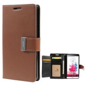 Luxusní PU kožené pouzdro na mobil LG G3 - hnědé - 1