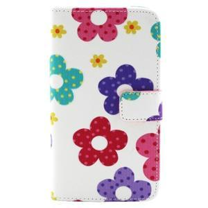 Obrázkové koženkové puzdro pre mobil LG G3 - maľované kvetiny - 1