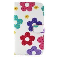 Obrázkové koženkové puzdro pre mobil LG G3 - maľované kvetiny - 1/4