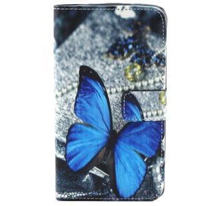 Obrázkové koženkové puzdro pre mobil LG G3 - modrý motýľ - 1