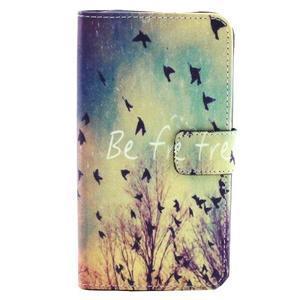 Obrázkové koženkové puzdro pre mobil LG G3 - lietajúce vtáčiky - 1