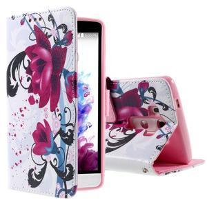 Motive koženkové puzdro pre LG G3 - fialový kvet - 1