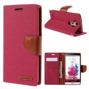 Canvas PU kožené/textilné puzdro pre LG G3 - rose - 1