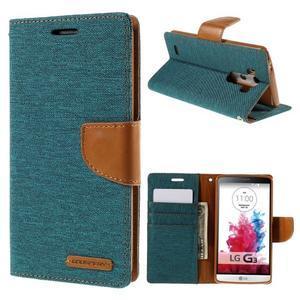Canvas PU kožené/textilné puzdro pre LG G3 - zelené - 1