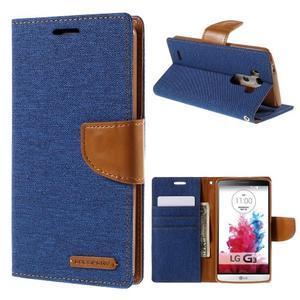 Canvas PU kožené/textilní pouzdro na LG G3 - modré - 1