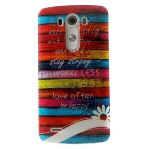 Gelový kryt na mobil LG G3 - barvy dřeva - 1