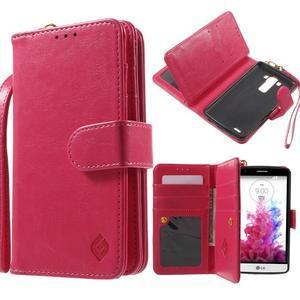 Patrové peňaženkové puzdro pre mobil LG G3 - rose - 1