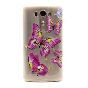 Priehľadný gélový obal pre LG G3 - motýľe - 1