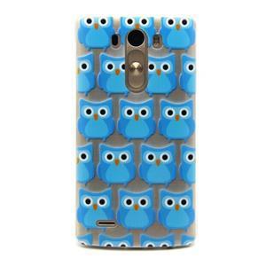 Priehľadný gélový obal pre LG G3 - modré malej sovy - 1