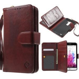 Patrové peňaženkové puzdro pre mobil LG G3 - hnedé - 1