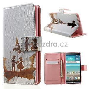 Zapínací peňaženkové puzdro pre LG G3 s - láska - 1