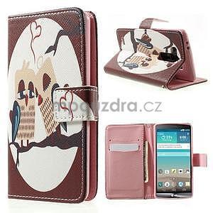 Zapínací peňaženkové puzdro pre LG G3 s - zamilovaní ptáčci - 1