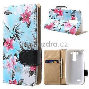 Elegantné lilie peňaženkové puzdro na LG G3 s - tyrkysové - 1