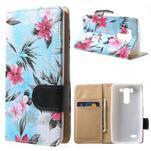 Elegantné lilie peňaženkové puzdro na LG G3 s - tyrkysové - 1/7