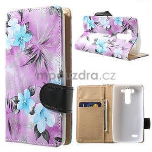 Elegantné lilie peňaženkové puzdro pre LG G3 s - fialové - 1