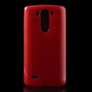Brúsený gélový obal pre LG G3 s - červený - 1